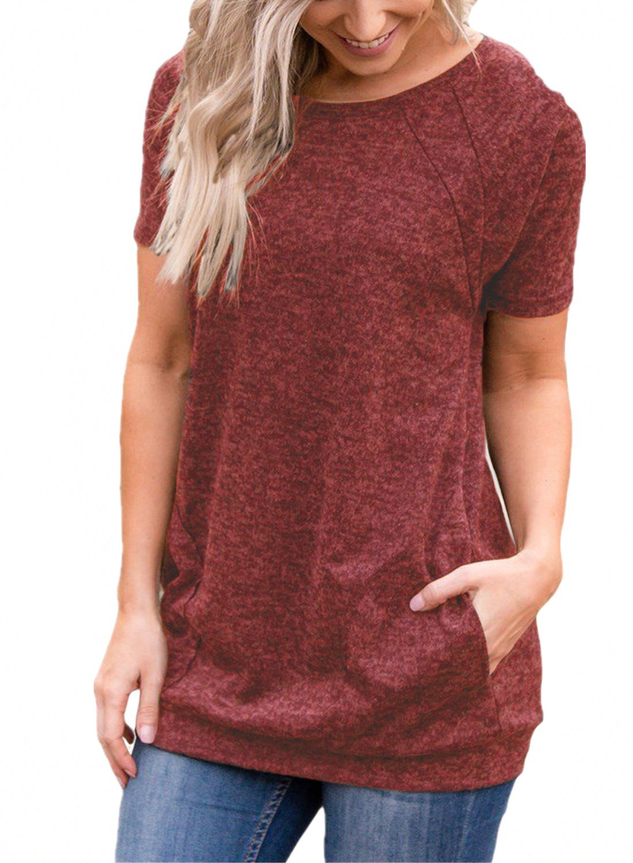 Ecrocoo Women Summer Short Sleeve Pockets Causal Tunics Loose T Shirts Blouse Tops Red Small