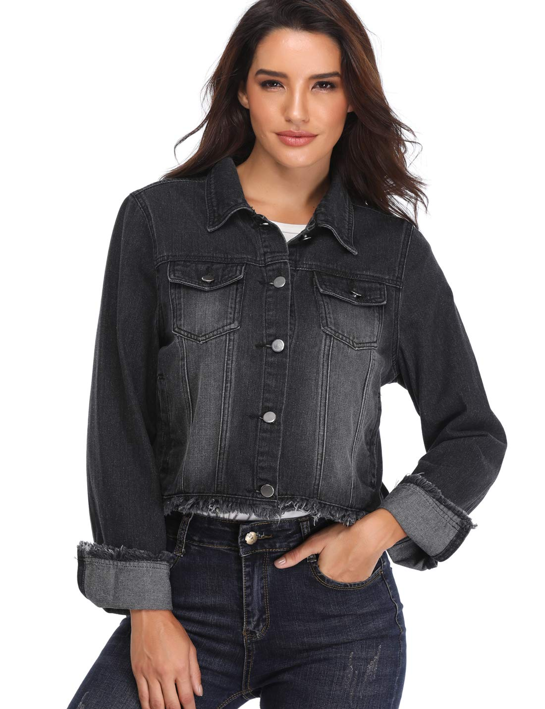 MISS MOLY Jean Jackets for Women Button up Turn Down Collar Frayed Denim Washed Crop Coat (Black, X-Large/US-18)