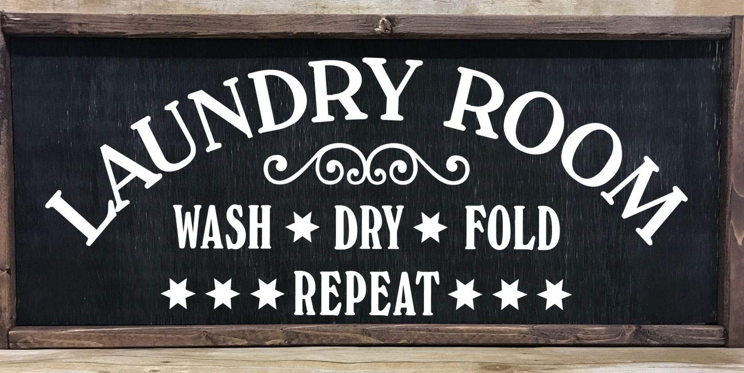 Laundry Room farmhouse style wooden framed sign, multiple sizes available