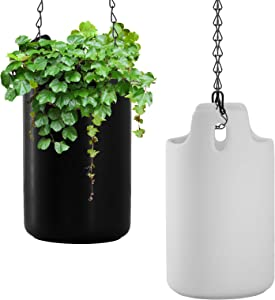 2-Pack Hanging Planter, 8 inch Ceramic Plant Hanger with Adjustable Chain Modern Wall Ceiling Flower Pot for Home Decor (Black and White)