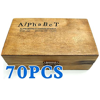 TOOGOORPack Of 70pcs Rubber Stamps Set Vintage Wooden Box Case Alphabet Letters