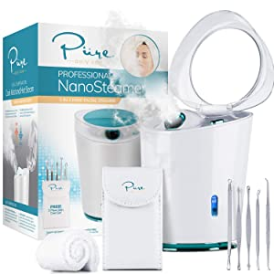 NanoSteamer PRO Professional 4-in-1 Nano Ionic Facial Steamer for Spas - 30 Min Steam Time - Humidifier - Unclogs Pores - Blackheads - Spa Quality - 5 Piece Stainless Steel Skin Kit Included