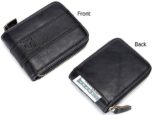 Amazon.com: Billetera de piel auténtica con cierre RFID ...