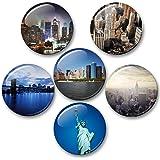 New York Manhattan - 6 imanes para nevera diámetro 5,9 cm [04]
