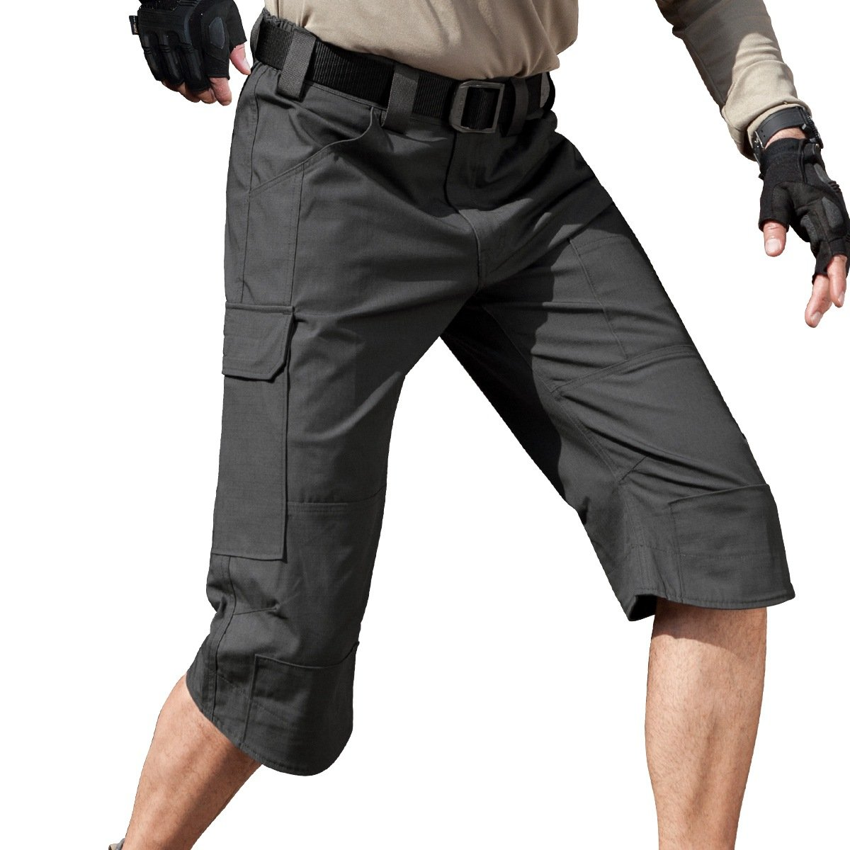 FREE SOLDIER Men's Capri Shorts Pants Casual 3/4 Water Resistant Multi Pockets Tactical Cargo Short (Gray W32)
