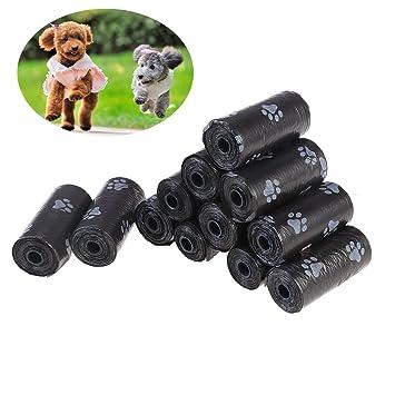 UEETEK 12 rollos /180 cucharadas bolsas de basura para mascotas bolsas para perros de perro bolsa de perros sin degradar biodegradable impresiones ...