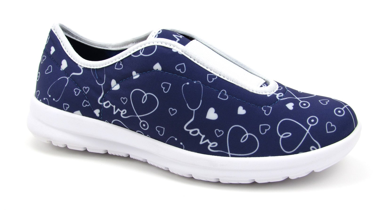 Move Women's Cute Memory Foam Elastic Gore Nursing Shoes - Printed - Florence (8, Stetho Love Blue)