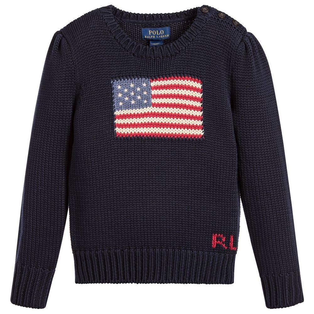 Ralph Lauren Polo Girls American Flag Intarsia Sweater (Blue, 5)