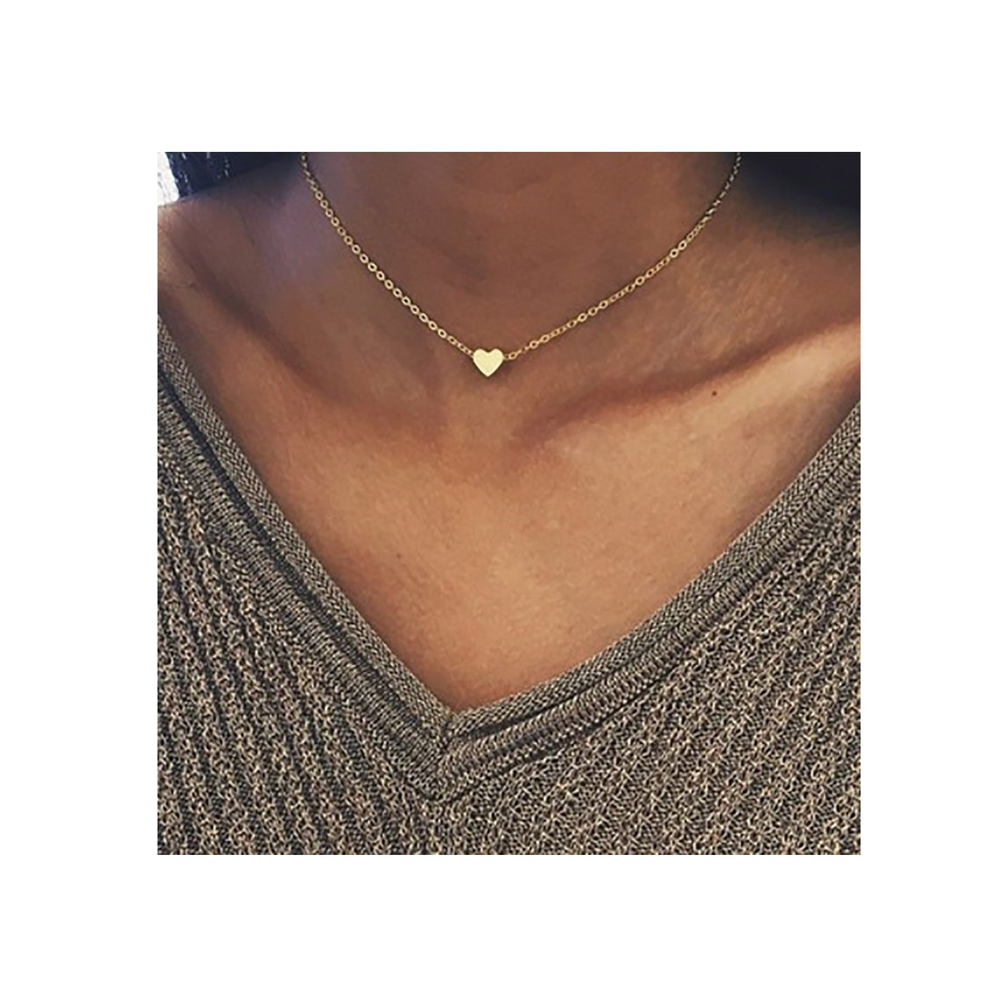 Fashion Necklace, Hoshell Crystal Heart Necklace For Women Romantic Fashion Classic Elegant Heart Chain Necklace (Gold)