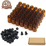 Fomei 40 Packs Oil Bottles for Essential Oils 2 ml (5/8 Dram) Amber Glass Vials Bottles, with Orifice Reducers and Black Caps, With 2 Free Glass Transfer Eye droppers