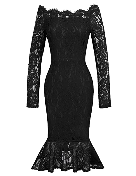 bf359e0d8a483 Off Shoulder Lace Party Dress 50s Midi Bodycon Mermaid Wedding Guest Dress:  Amazon.co.uk: Clothing