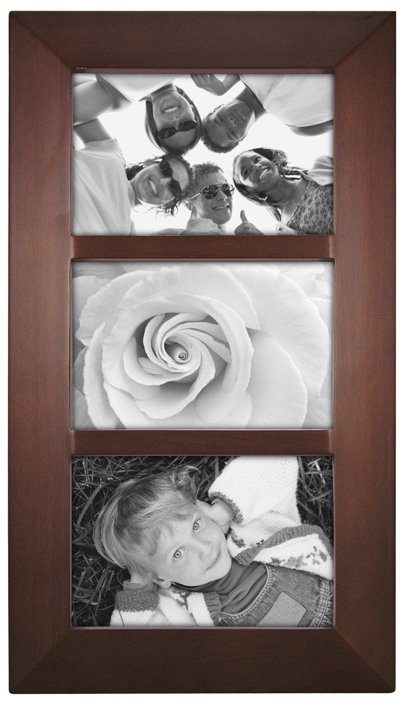 Malden International Designs Berkeley Beveled Edge Wood Collage Picture Frame, 3-Opening 4x6, Walnut by Malden International Designs