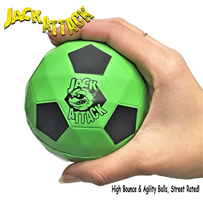 "Jack Attack Reaction 9 High Bounce Rubber & Agility Ball ""Play Softball On The Streets"" Summer Gift for Kids Boys and Girls (Green Black): Toys & Games"