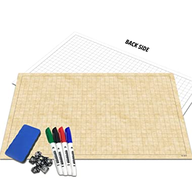 RPG Battle Grid Game Mat | 24  x 36  Double Sided | w/Markers, Eraser & 7pc Polyhedral Dice Set | Table Top Role Playing Map - DnD Role Play - Dungeons and Dragons Maps Tiles - Tabletop Gaming Mats