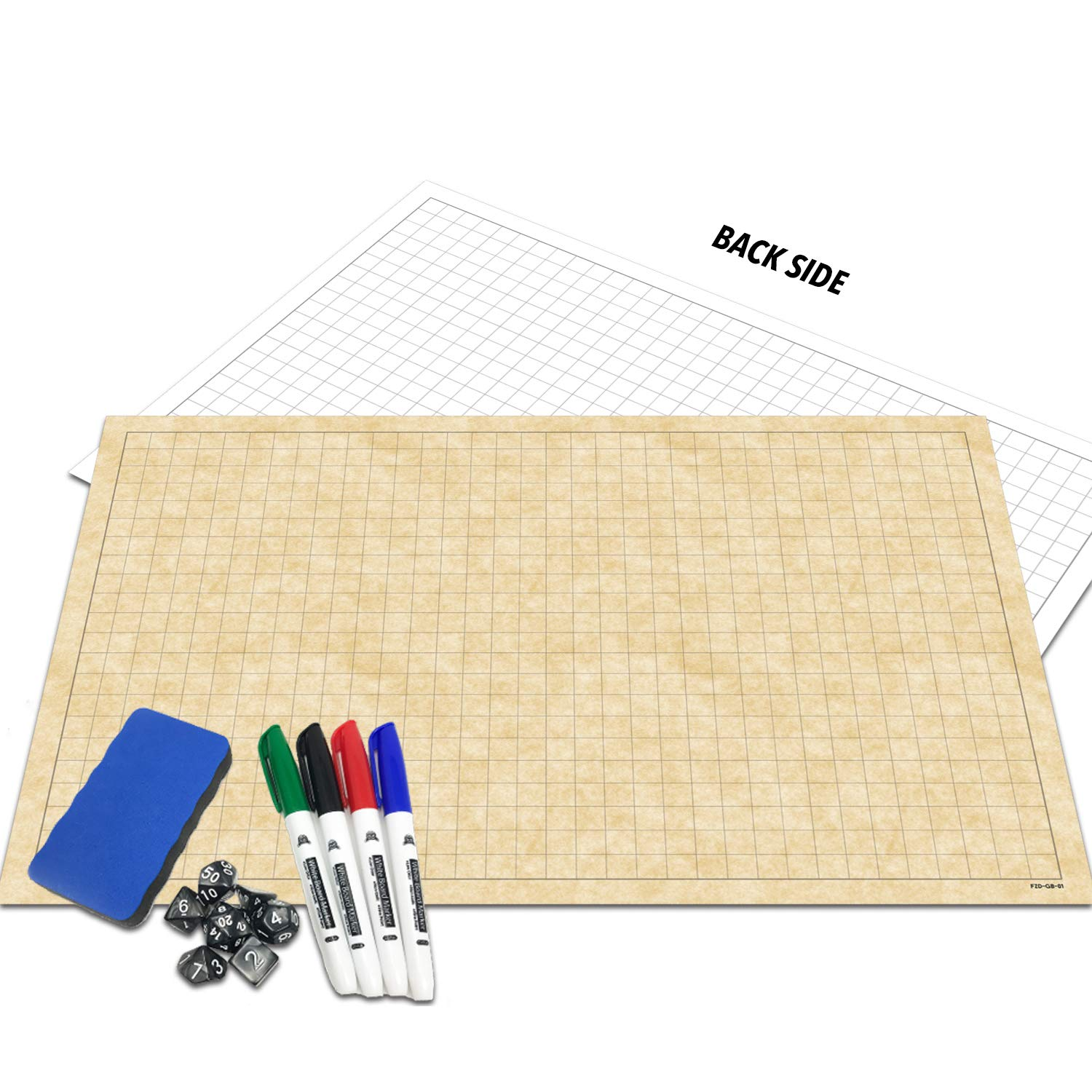RPG Battle Grid Game Mat | 24'' x 36'' Double Sided | w/Markers, Eraser & 7pc Polyhedral Dice Set | Table Top Role Playing Map - DnD Role Play - Dungeons and Dragons Maps Tiles - Tabletop Gaming Mats