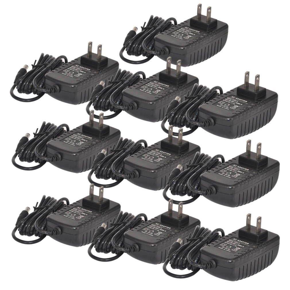 TMEZON 10 Pack 12 Volt 2 Amp Power Adapter AC to DC 2.1mm X 5.5mm Plug 12v 2a Power Supply Wall Plug Extra Long 8 Foot Cord