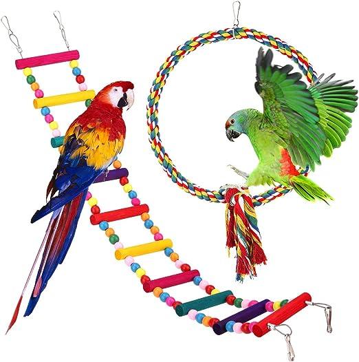 Pawaboo Juguete Columpio para Pájaro, Juguete Oscilación con Cuerda Colorida, Hamaca Colgada Escalera de Madera, Jaula de Pájaros del Hábitat de la Plataforma para Periquito, Guacamayos Loros Pájaros: Amazon.es: Productos para mascotas