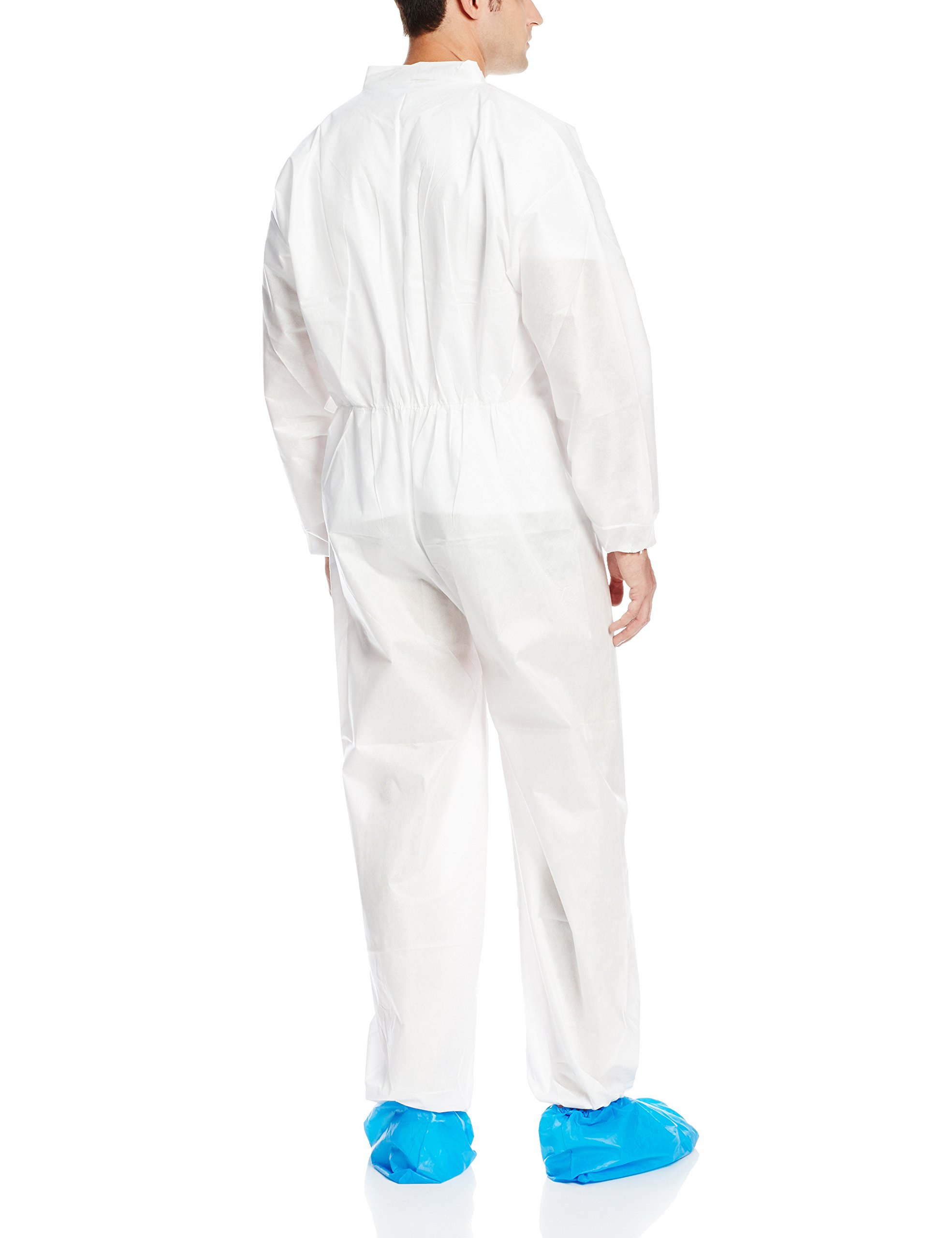 ValuMax 4802WHXL Ultra SMS Disposable Coverall, Fluid Resistant, Breathable, Elastic Cuffs and Ankles, White, XL, Case of 25 by Valumax (Image #2)