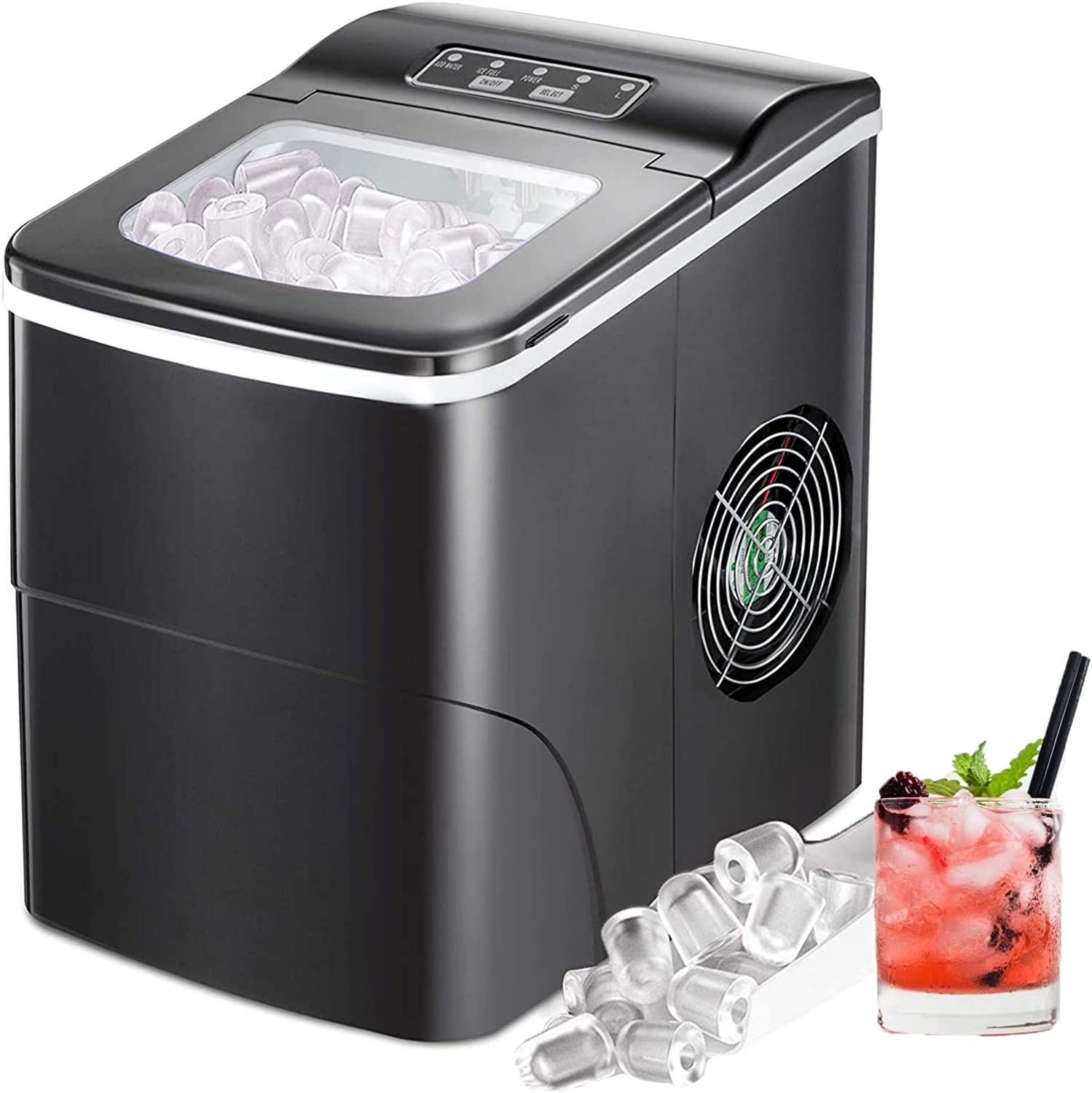 Electactic Ice Maker Machine for Countertop, 26Lbs/24H Portable Electric Ice Makers, Compact Ice Cube Maker with Ice Scoop and Basket 9 Cubes Ready in 6-8 Minutes,Ice Making Machine for Home(Black)