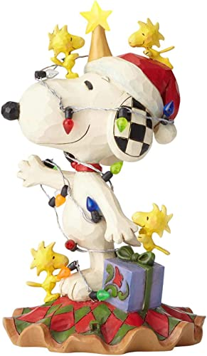 Enesco Peanuts by Jim Shore Woodstock and Snoopy with Christmas Lights Lit Figurine 6 Multicolor