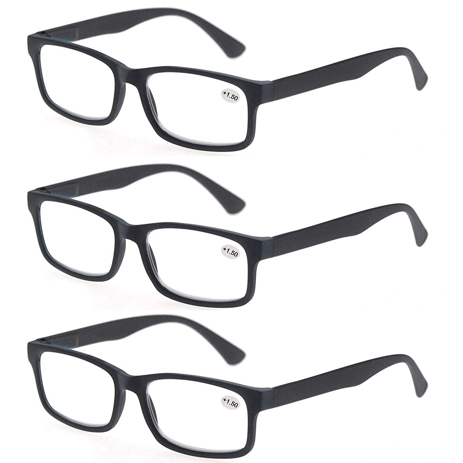 a88b3adda9c5 Amazon.com  MODFANS Pack of 3 Vintage Plastic Reading glasses Rectangular  with Spring Hinge Comfort Clear Lens For Men and Women +1.00  Clothing