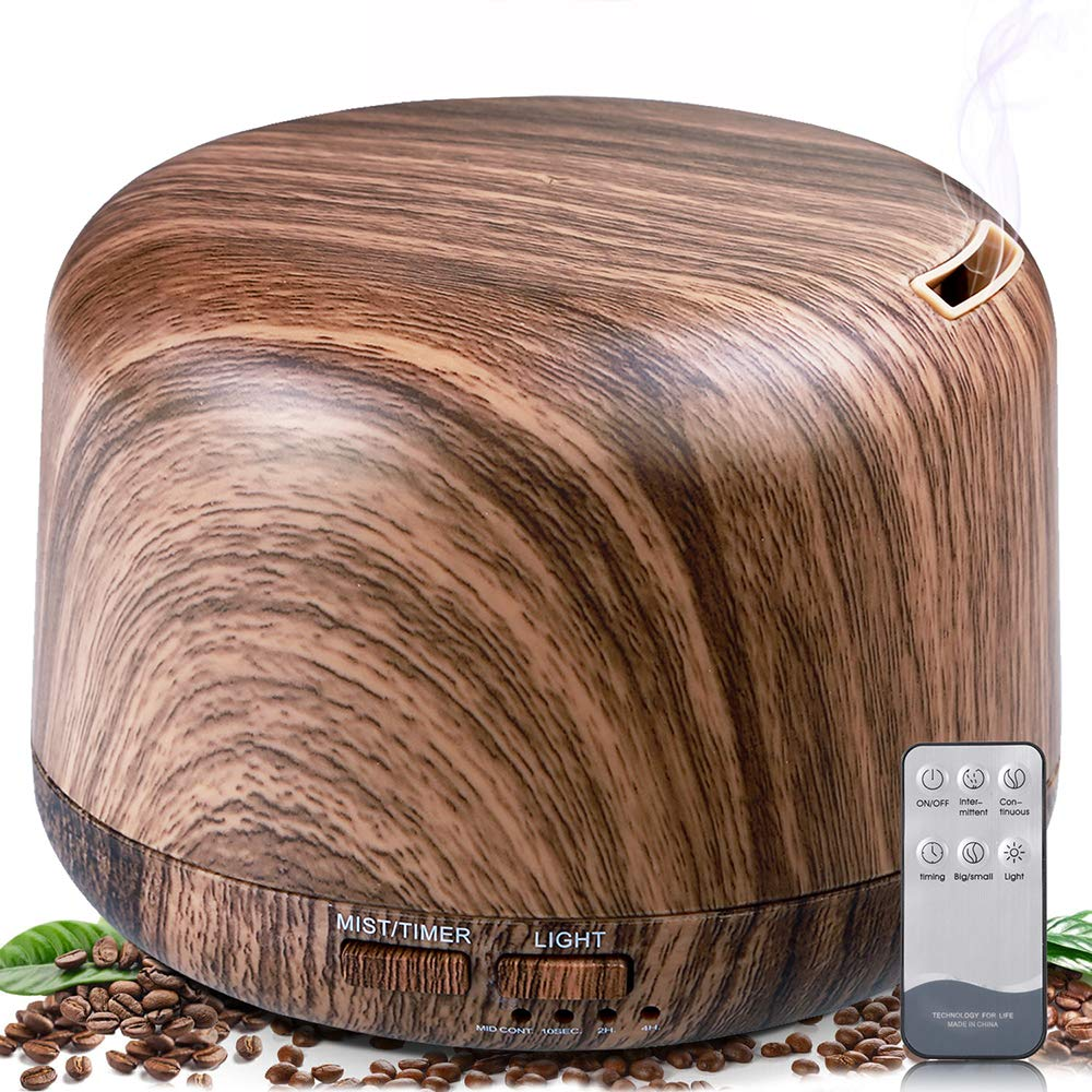 ALOVECO Aromatherapy Diffusers for Essential Oils 300ml Wood Grain Essential Oil Diffuser Humidifier with Remote 7 Colors Lights Timer Setting and Waterless Auto Shut-Off for Home Bedroom Office