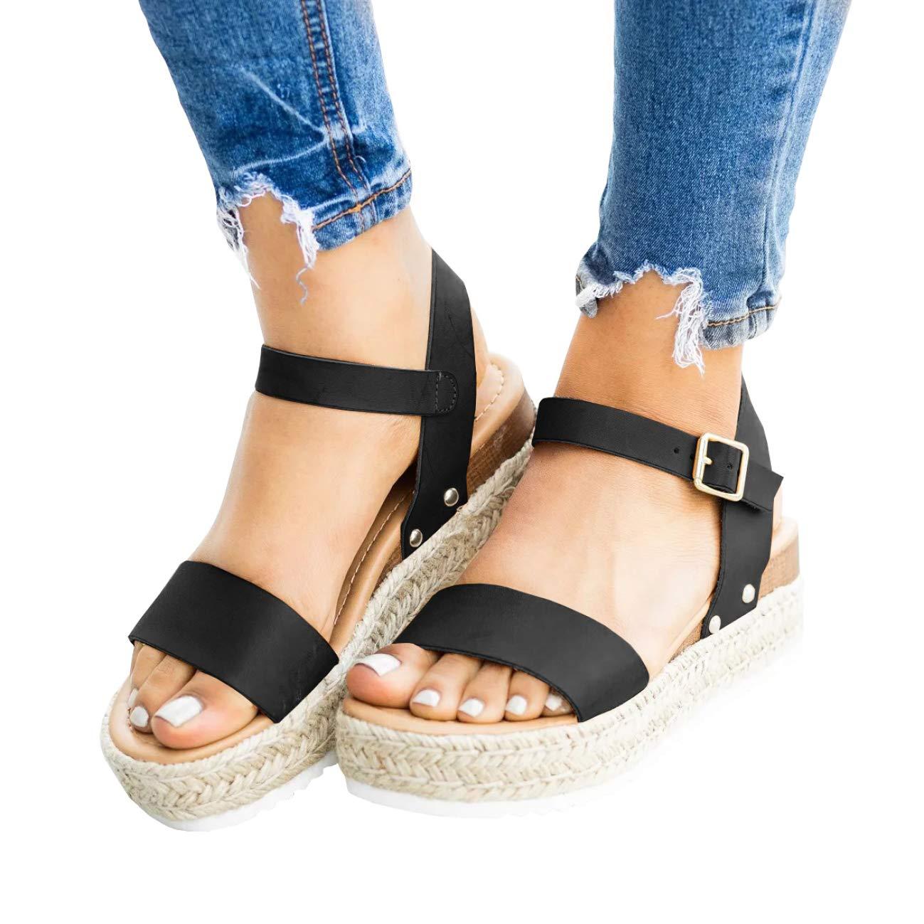 9f20d5f046e Womens Espadrilles Open Toe Platform Wedge Sandals Ankle Strap Slingback  Dress Shoes