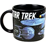 Star Trek - Starships of Star Trek Coffee Mug - Different Star Ships as well as Their Capitans - Comes in a Fun Gift Box