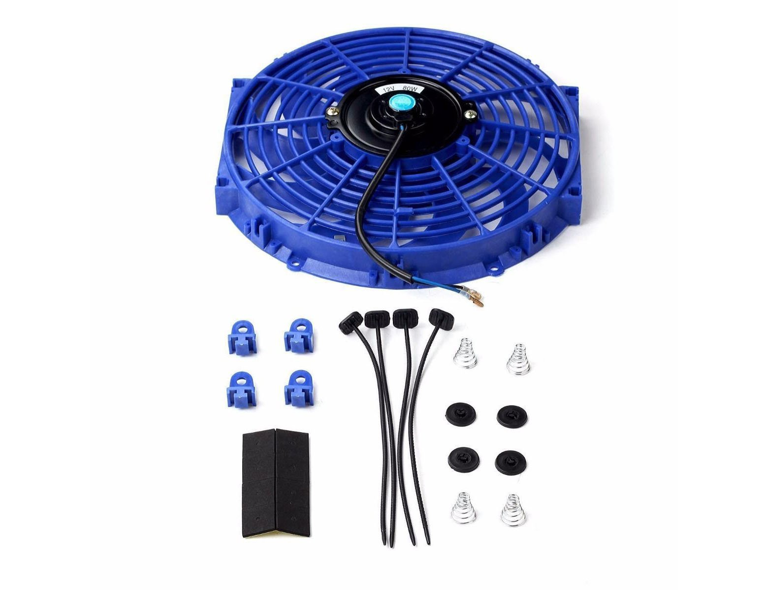 SUPERFASTRACING 12'' Inch Universal Slim Fan Push Pull Electric Radiator Cooling 12V Mount Kit Black