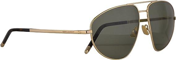 Saint Laurent SL 136 Combi 004 Havana Plastic Round Sunglasses Green Lens