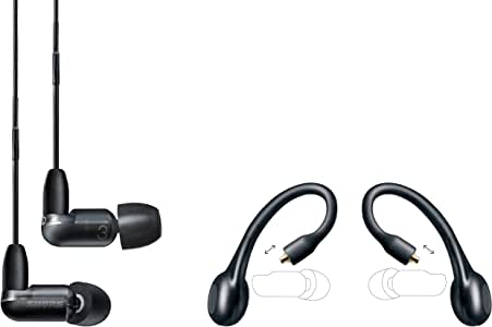Shure AONIC 3 Wired & Wireless Earphone Bundle, Sound Isolating Earbuds, Clear Sound, Single Driver, Detachable Cable & Wireless Bluetooth Adapter, Compatible with Apple & Android Devices – Black