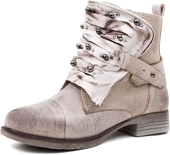 Marimo Damen Nieten Stiefel Biker Boots mit Schnallen Schnür Stiefeletten in Lederoptik