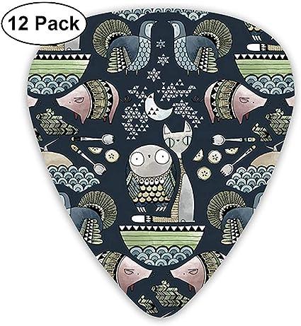 Owl And Pussycat Pattern 12 Pack Púas de guitarra, guitarras eléctricas y acústicas: Amazon.es: Instrumentos musicales