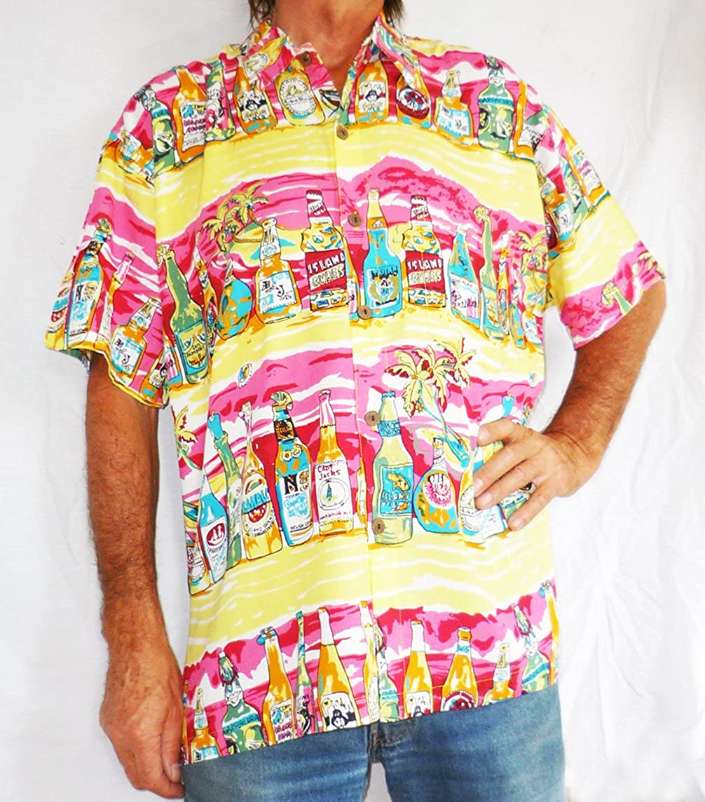 dce2a9ef4 Double Duck Loud Hawaiian Men's Shirt Yellow With Tropical Beer Bottles,  Holiday, Stag Night, Party 5XL Pink: Amazon.co.uk: Clothing