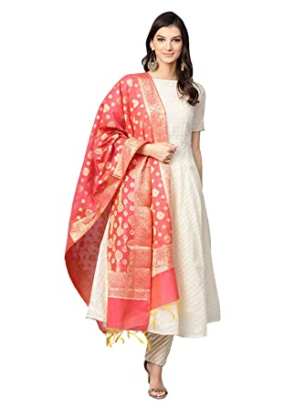f14ef4b1ba Inddus Women's Chanderi Cotton Fully-Stitched Self Design Anarkali Suit Set  with Banarasi Woven Dupatta