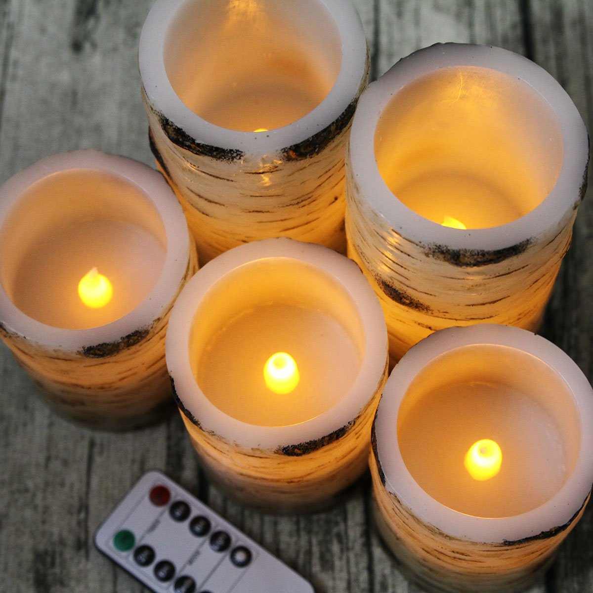 Pandaing Set of 5 Pillar Birch Bark Effect Flameless LED Candles with 10-key Remote Control and 2 4 6 or 8 Hours Timer Function by Pandaing (Image #3)