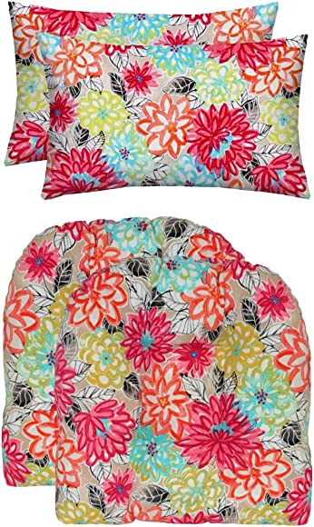 RSH D cor Indoor Outdoor Set of 2 U-Shape Wicker Tufted Seat Cushions 19″x19″ 2 Lumbars 20″x12″ Weather Resistant Floral Patterns Choose Color Artistic Floral Pink Yellow Orange Blue - the best outdoor chair cushion for the money