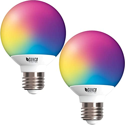 Sunco Lighting 2 Pack WiFi LED Smart Bulb, G25, 5W, Color Changing RGB CCT , Dimmable, Compatible with Amazon Alexa Google Assistant – No Hub Required