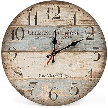 LOHAS Home 12 Inch Silent Vintage Design Wooden Round Wall Clock, Arabic Numerals,Vintage