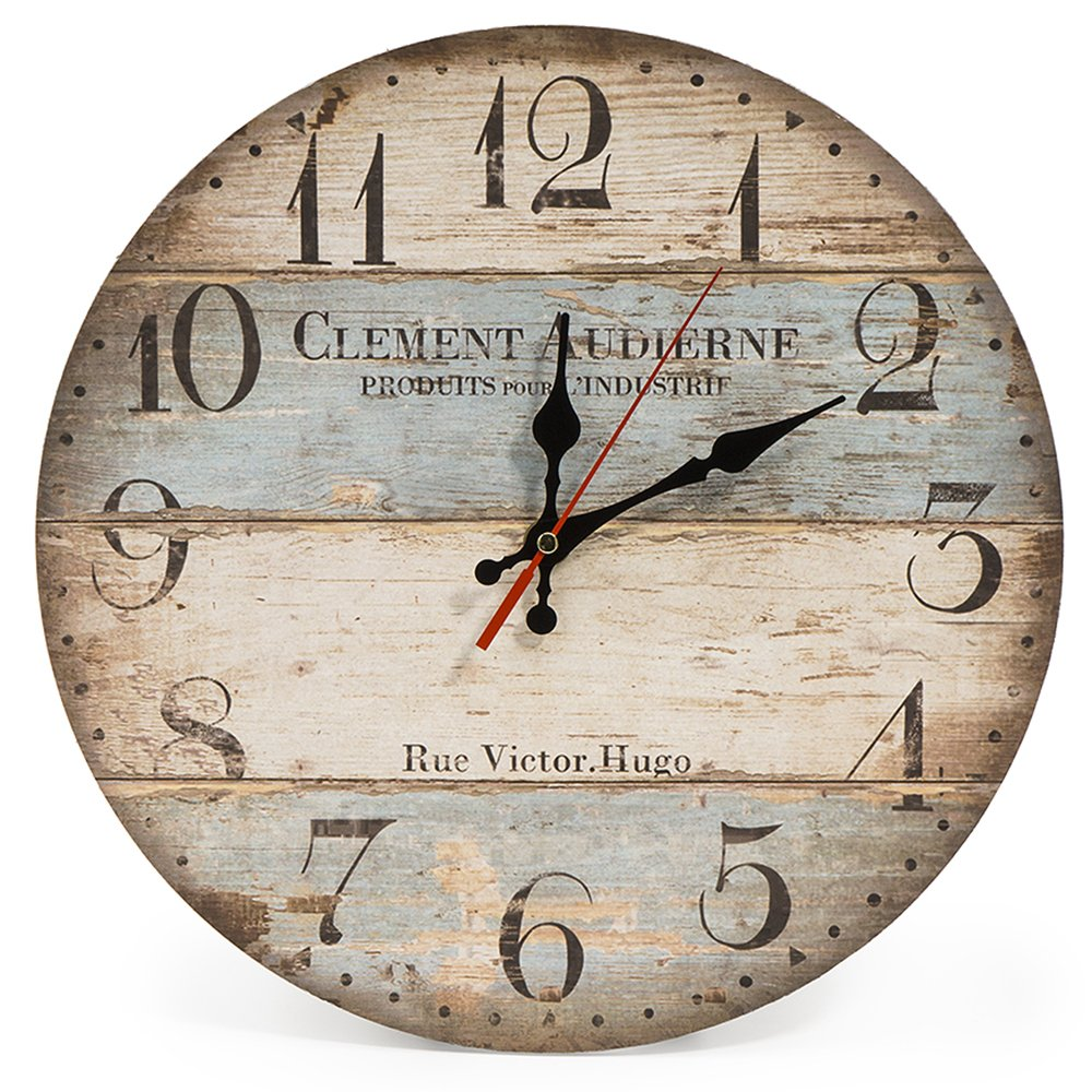 LOHAS Home 12 Inch Silent Vintage Wooden Round Wall Clock Arabic Numerals Vintage Rustic Chic Style Wooden Round Home Decor Wall Clock (Victor Hugo)