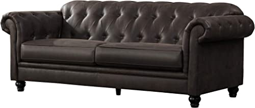 Acanva Luxury Chesterfield Tufted Leathaire Leather Living Room Sofa