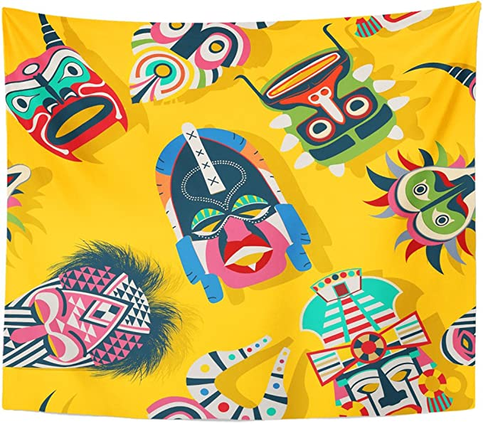 Tapestry Brown African Tribal Mask Ethnic Design Abstract Africa Home Decor Wall Hanging for Living Room Bedroom Dorm 60x80 Inches: Amazon.es: Juguetes y juegos