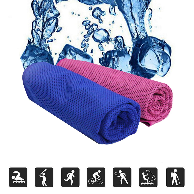 OKPOW 2pcs Hielo refrigeración Toalla Microfibra Toalla de Cool Sweat-Absorbent Chill Pad Alivio instantáneo del Cool para Sunstroke Gimnasio Playa Ciclismo Jogging Azul Rojo