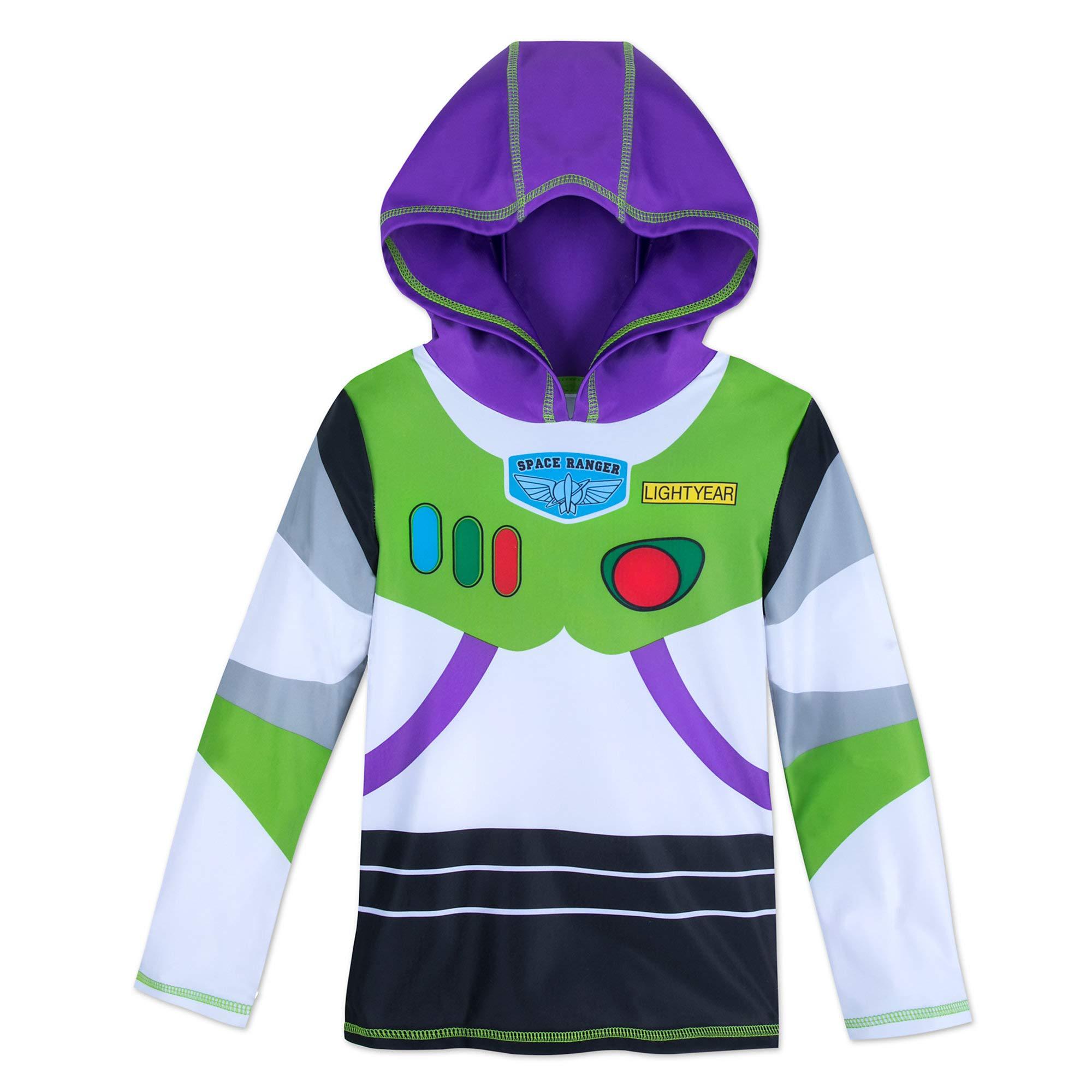 Disney Buzz Lightyear Hooded Rash Guard for Kids Size 4 White