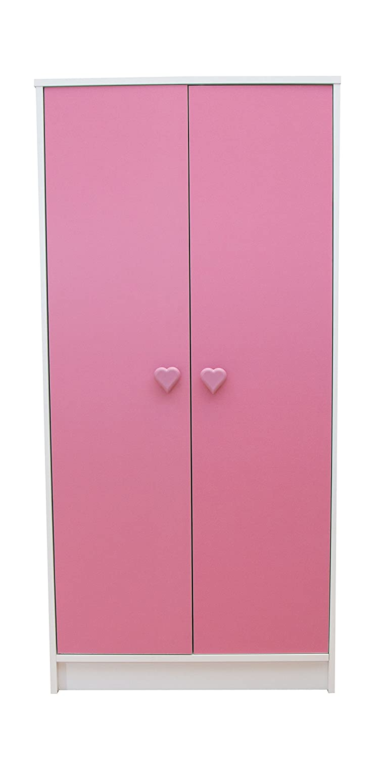 Devoted2Home Hearts childrens bedroom furniture kids wardrobe pink white heart handle