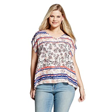04e9822b1d6 Eclair Women s Plus Size Pink   Blue Floral With Stripes Printed Short  Sleeve Blouse (XXX