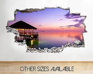 Tekkdesigns A200 Sunset Ocean Sea Paradise Lila Wand Aufkleber 3D Poster  Art Aufkleber Vinyl Kids Schlafzimmer
