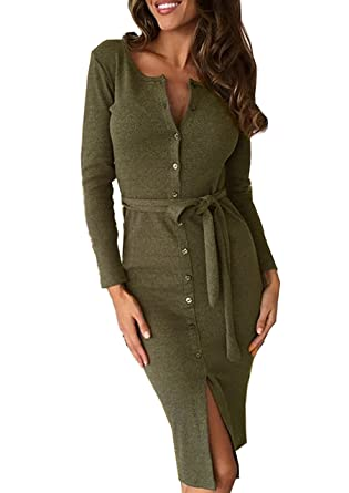 1eb954a1291 Yidarton Femmes Robe Moulante Sexy Slim à Manches Longues Fendue Bouton  Hiver Robe de Soirée avec Ceinture  Amazon.fr  Vêtements et accessoires