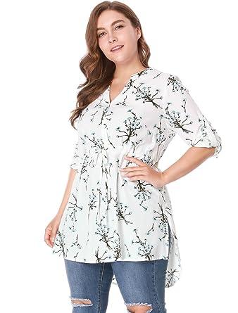 5d11326dc598 uxcell Women s Plus Size Drawstring High Waist A Line Long Floral Shirt 1X  White