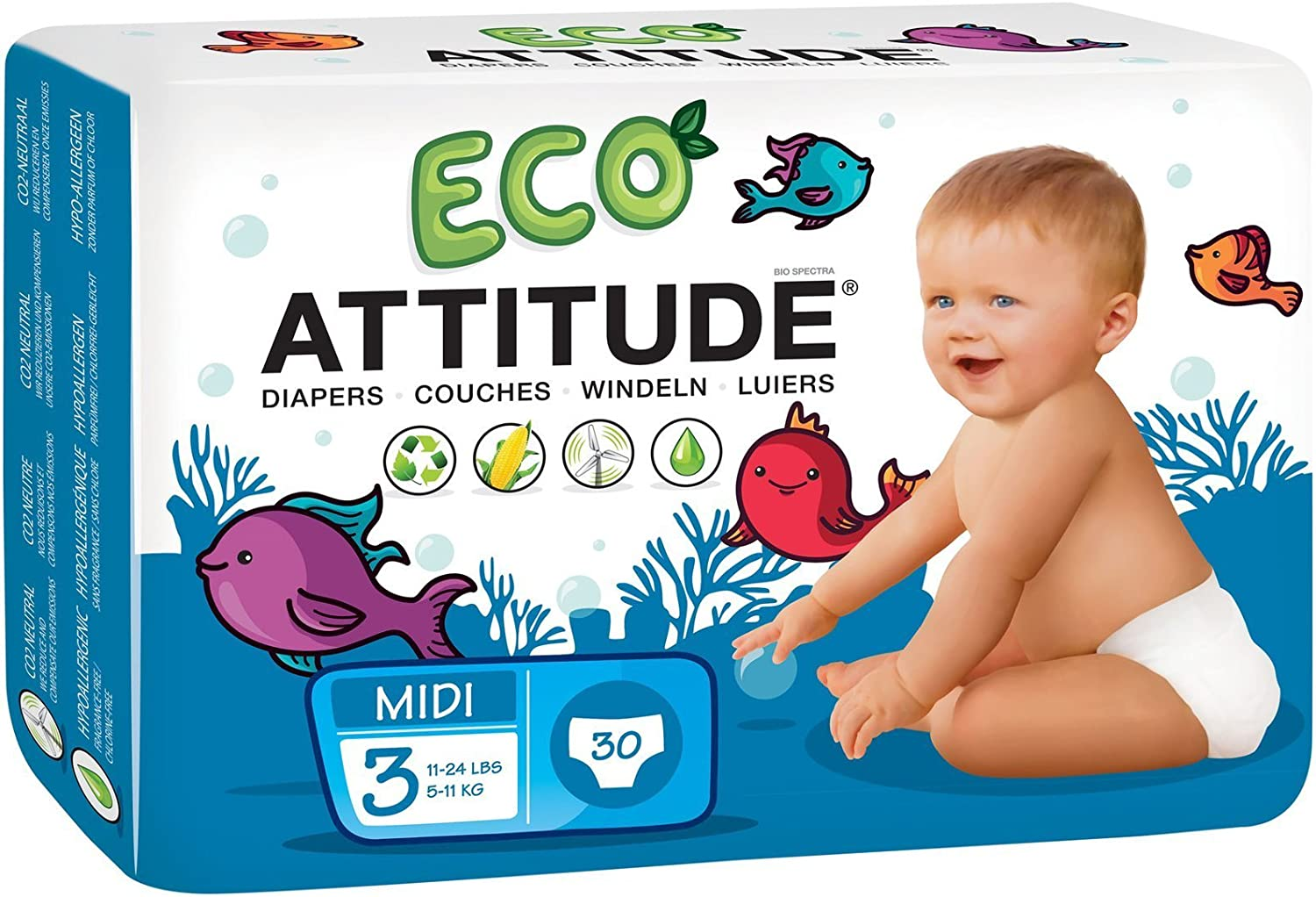 ATTITUDE Hypoallergenic Disposable Baby Diapers Maxi Size 4 26 Count